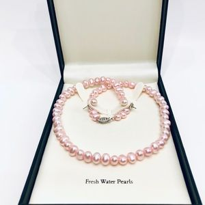Jewelry - NEW🥳Pink Flat Cultured Freshwater Pearl Gift Set